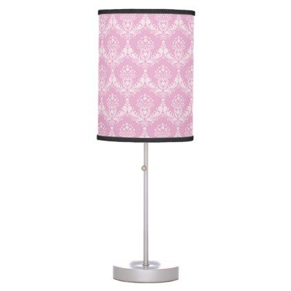 damask pink desk lamp - home gifts ideas decor special unique custom individual customized individualized