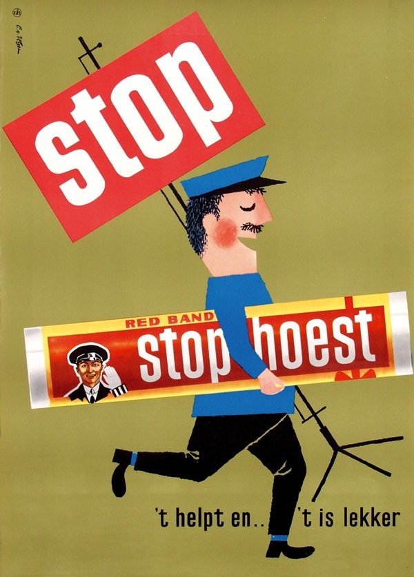 Stophoest - 't helpt en...'t is lekker - Red Band - reclame 1962 - ontwerp: Cornelius van Velsen