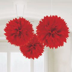 Red Fluffy Decorations from Windy City Novelties - Great knockoff idea - poms for the front room