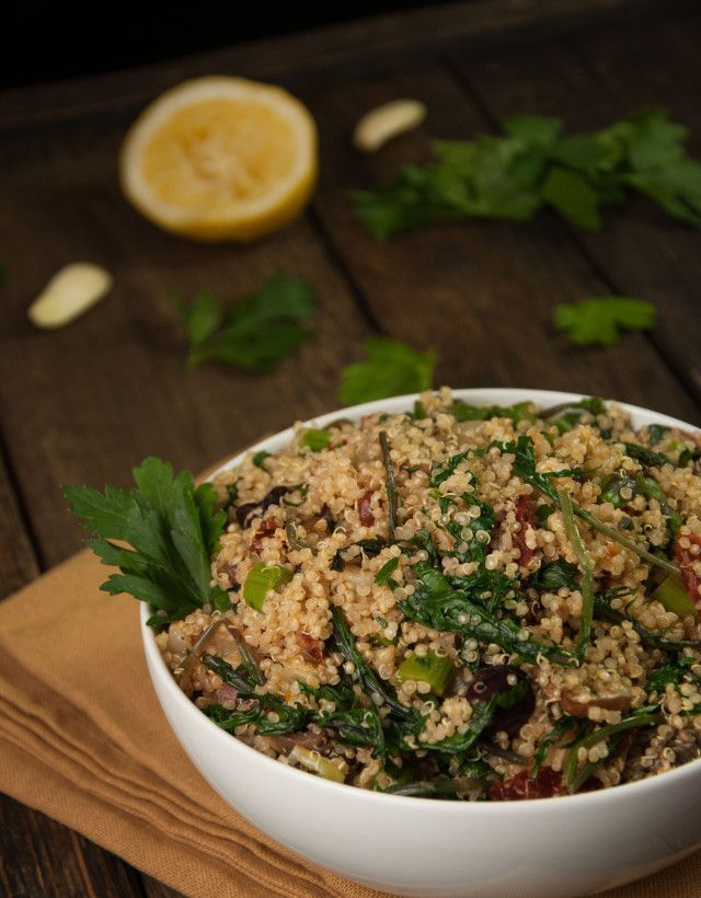 Light and tasty lemon quinoa salad that's vegan, easy to make, highly customizable, and chalk full of vitamins - Feasting Not Fasting