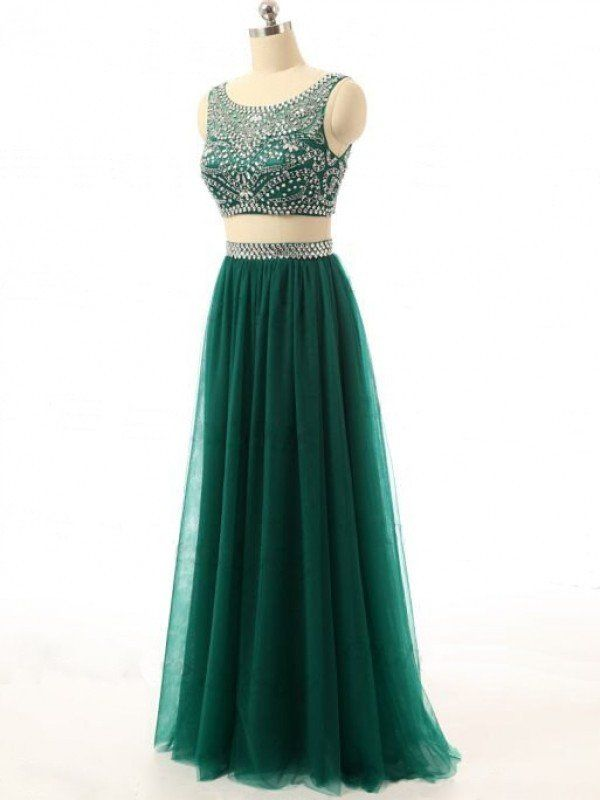 Dark Green Two Piece Prom Dress, Formal Gown , Evening Dress With Beaded Crop Top