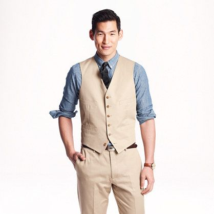 J B Ludlow Ludlow suit vest in Italian chino