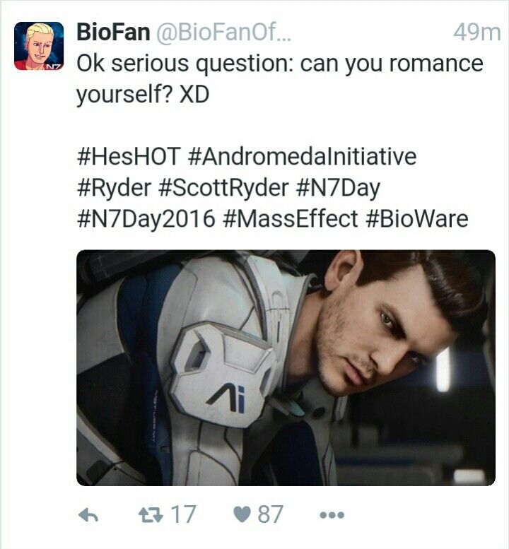 You guys should check out this guys youtube channel, it's got all the latest Mass Effect Andromeda news. He and I even had a conversation on how attractive Male Ryder is.