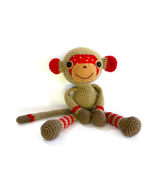 READY TO SHIP Monkey Crochet Monkey Stuffed Boy Monkey