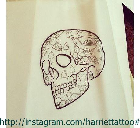 Skull tattoo design.Skull and birds, blossoms sketch by me @Harriettattoo