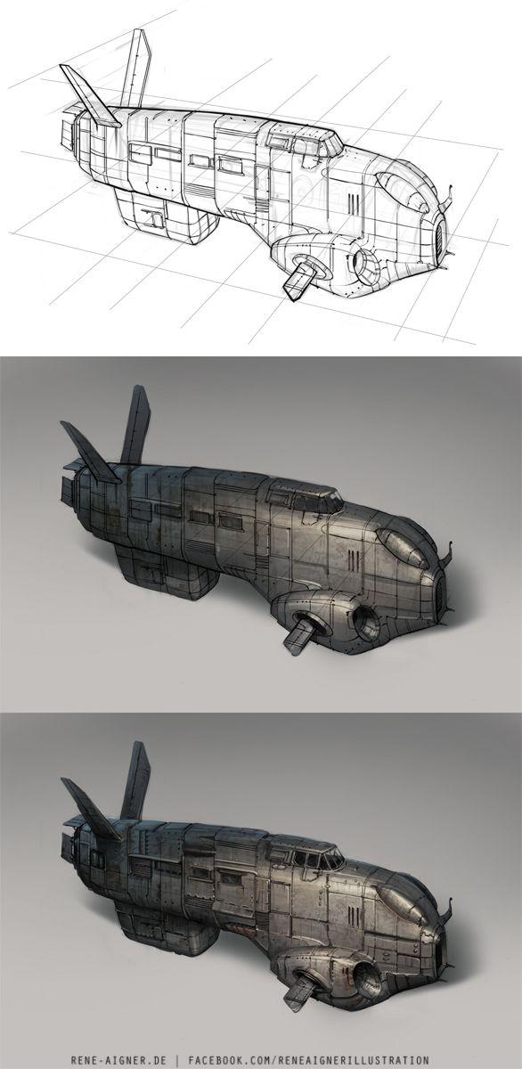 amazoncom blast spaceship sketches and renderings - 586×1200