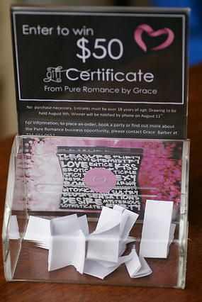 Agent Romance - Saving the world one bedroom at a time | Raffle box and getting leads at a vendor show. Pure Romance. Direct Marketing. Vendor shows.