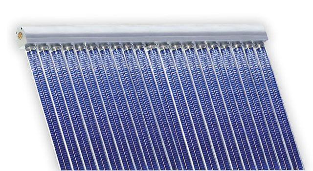 Kolektory próżniowe - panele fotowoltaiczne. Depsol kolektory słoneczne - niemieckiej produkcji. Solary, baterie słoneczne do ogrzewania i prądu. Dobra cena. Górna cześć kolektora słonecznego Depsol DS z rurami próżniowymi Narva