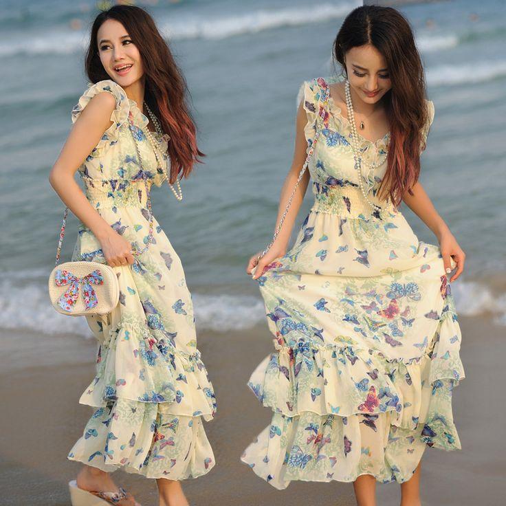Mystery spectacol 2015 de vară rochie de plajă rochie boem doamnă a fost subțire rochie de sifon vacanță fusta de vară