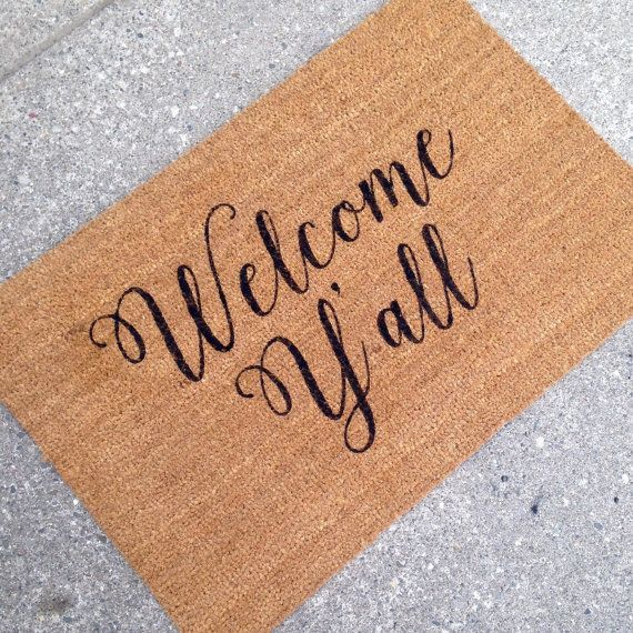 Welcome Y'all Doormat Door Mat Hand Painted Large by LoRustique