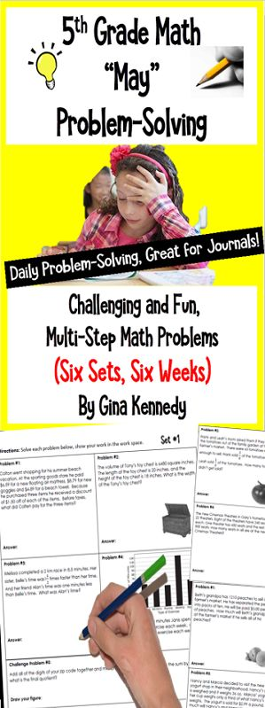 "Six sets (five in each set) of standards based themed 5th Grade math multi-step weekly problems. Great for no-prep ""daily"" multi-step problem solving or for use anytime as an entire set. Excellent for math journals. The problems involve all operations; fractions, decimals, geometry, algebra and more. This resource is intended to provide students with the opportunity to practice daily multi-step computations and word problems that involve real world situations. $"