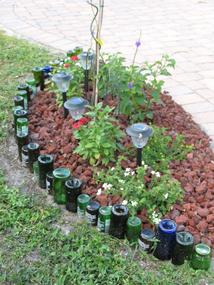 Terrific ideas for lawn edging unique ideas for lawn for How to use wine bottles in the garden