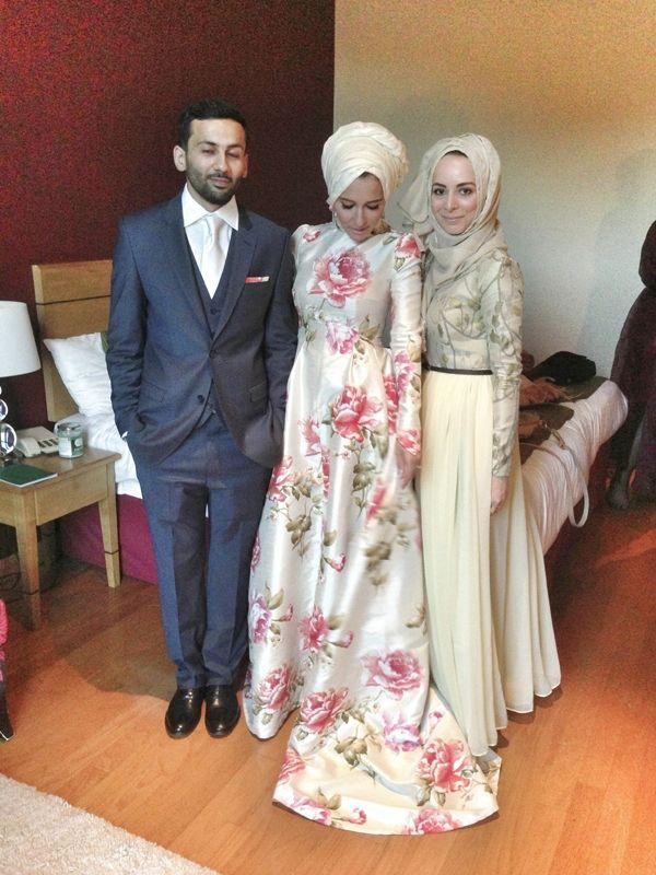 Love the peony prints on Dina's wedding dress!