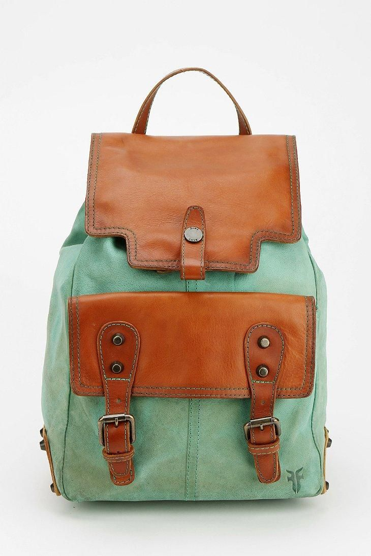 Frye Tracy Leather Backpack #urbanoutfitters (may-be a different color though, like a shade of green or even all the same color or a darker brown...)