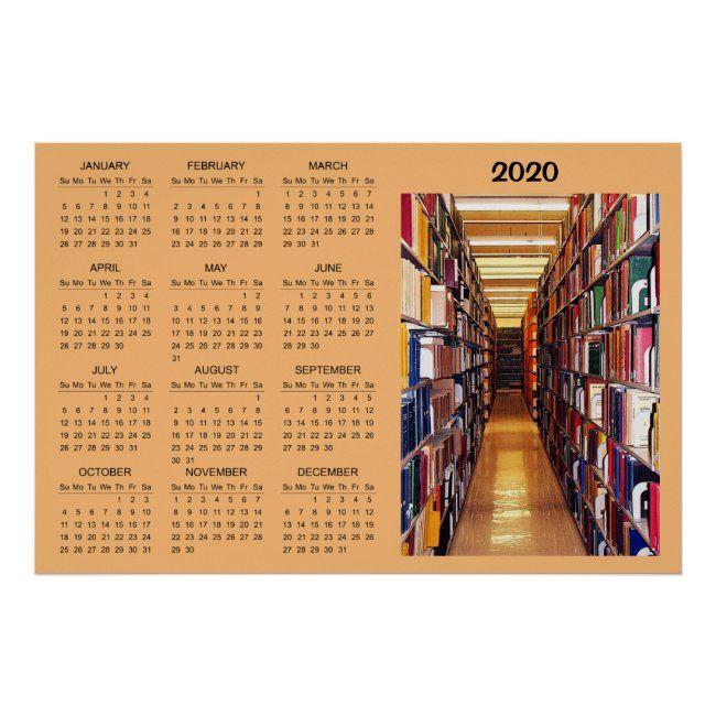 Library Books 2020 Calendar Poster Zazzle Com In 2020 Library Books Calendar Poster Book Spine