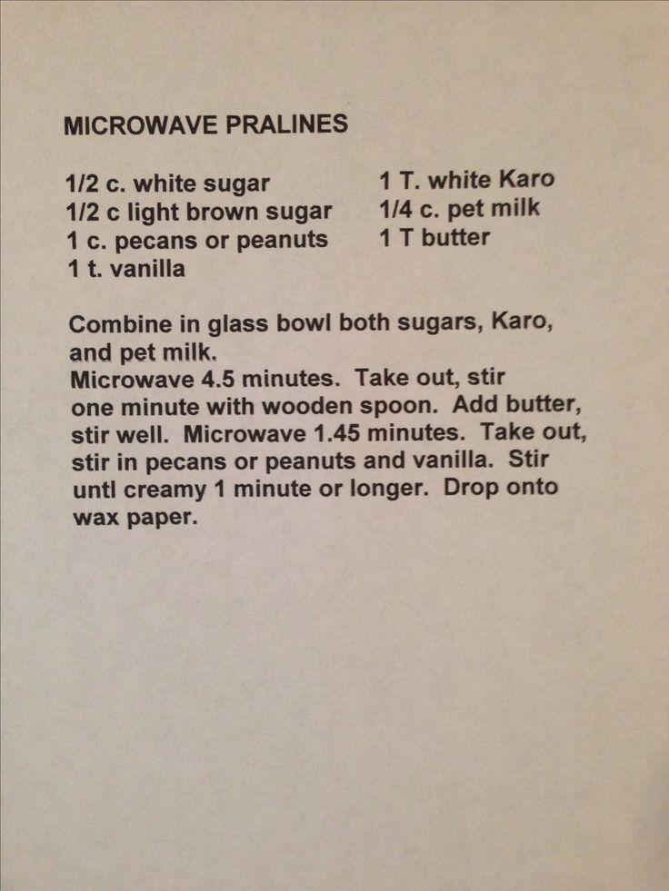 Microwave praline recipe