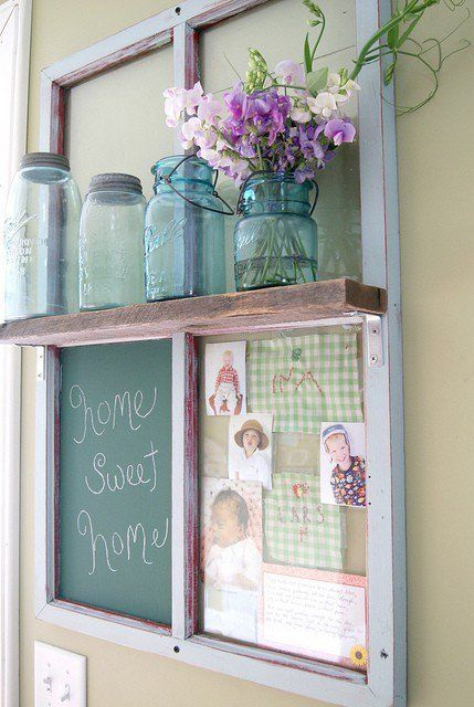 ways to use old windows - upcycled window...from Post Road Vintage - It's a window – chalkboard – picture frame shelf!