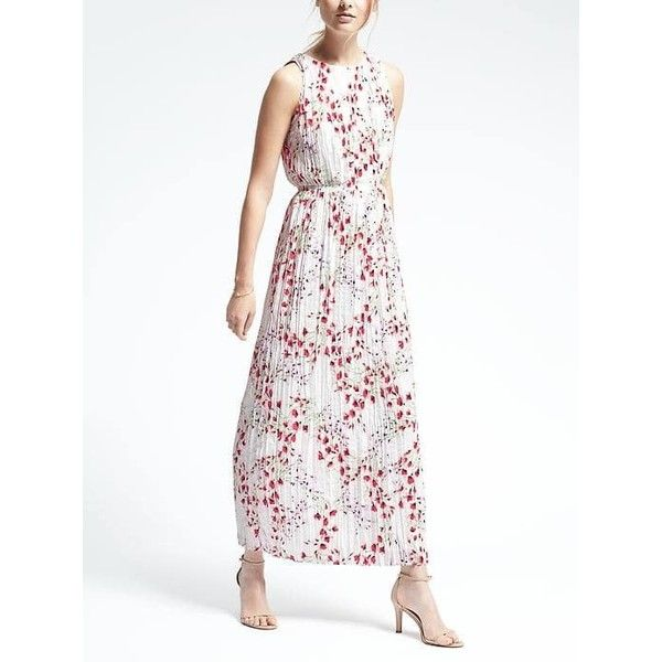 Banana Republic Womens Floral Pleated Maxi Dress (£125) ❤ liked on Polyvore featuring dresses, snow day, tall maxi dresses, petite white dresses, petite maxi dresses, sleeveless dress and floral print dress