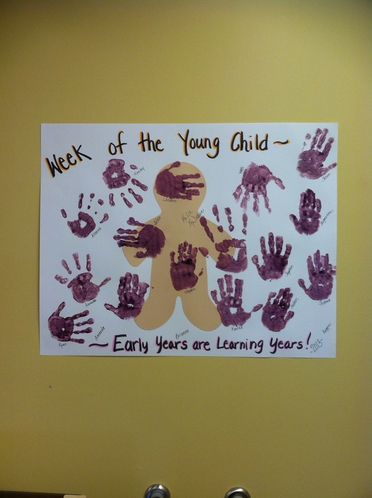 Week of the Young Child poster made by the children. I printed the words and glued cut out. Then, painted whatever hand the children chose purple. They placed their hand where ever they wanted onto the poster. They really enjoyed it!