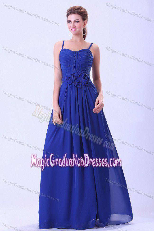 Spaghetti Straps Royal Blue Long University Graduation Dress with Flowers