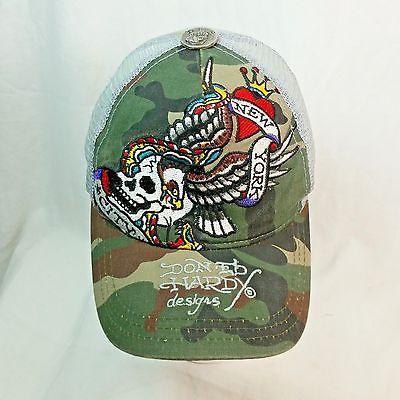 Don Ed Hardy Designs Camo Skull Eagle Wings New York City Adj Snap Back Cap