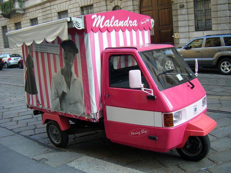 Piaggio Ape Car, a fashionista's dream http://www.thepiccachillyparlour.com/tpp/piaggio-ape-a-fashionistas-dream/ #Piaggio #Ape #ApeCar #fashionista #dream #ThreeWheeled #italian #icon #popular #fashion #brand #appeal #shops #Rome #Turin #Milan #Lecce #ForteDeiMarmi #solution #retailers #ApeMalandra #ValeriaFerlini #OnTheRun #vans #Pinko #PrettyWoman #Sobimilla #FashionOnTheRoad #MovingShop #ThePiccachillyParlour