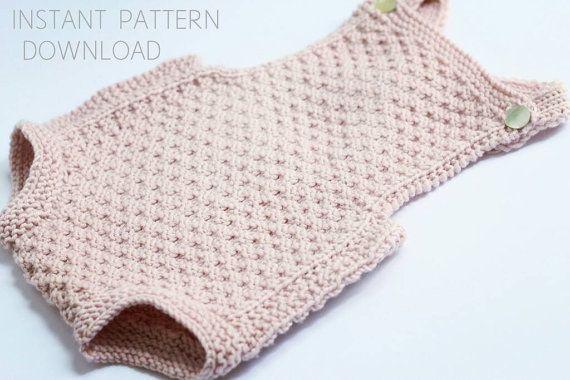 """Romper tejer patrón """"Mia""""-Descargar pdf-baby knitting pattern - fácil bebé que hace punto"""