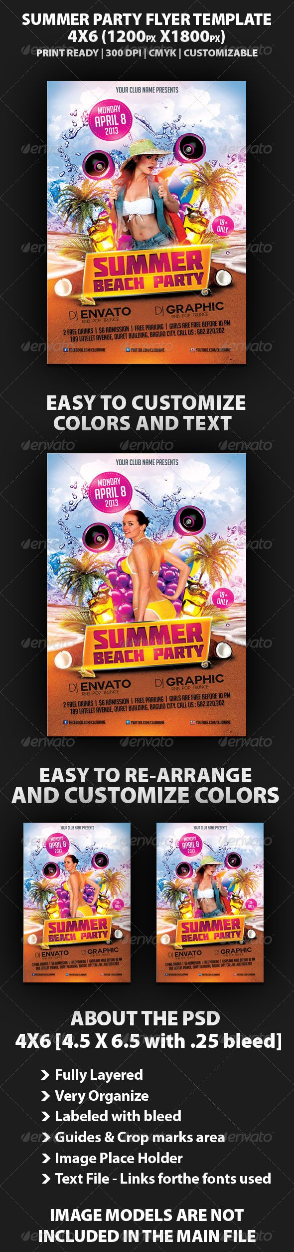 Summer Beach Party Flyer Template — Photoshop PSD #summer #vacation • Availa…