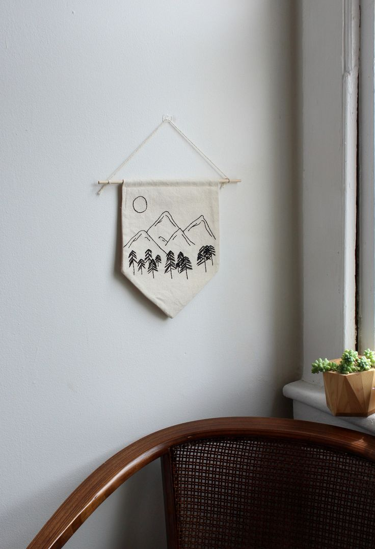 Pacific Northwest Mountains Hand Stitched Embroidery Wall Banner