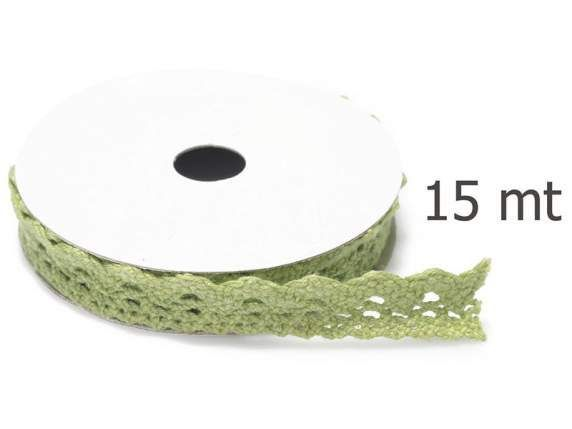Varie - Nastro di Pizzo Verde Mela mm.10 mt.15 - un prodotto unico di raffasupplies su DaWanda
