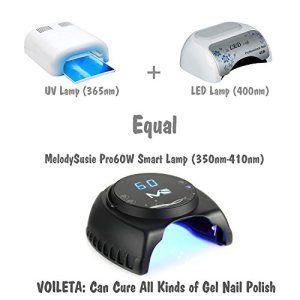 MelodySusie® Nouveau Produit Haute Qualité VIOLETIEL Pro60W Sèche Ongles Intelligente Lampe LED&UV Mélangé Compatible avec Gel LED&UV (Tous…