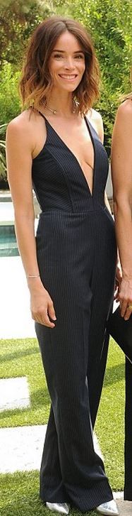Who made Abigail Spencer's black plunging jumpsuit?
