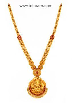 22K Gold '2 in 1' Lakshmi Long Necklace (Temple Jewellery) - GN1758 - Indian Jewelry from Totaram Jewelers