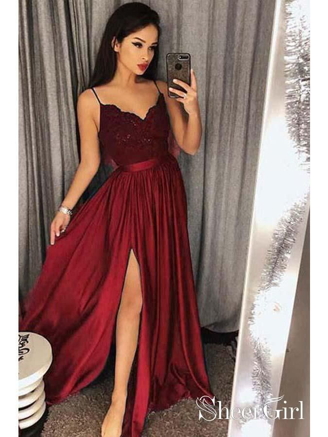 Prom Dresses Cheap Slit Spaghetti Strap Quinceanera Formal Evening Dress.  Green Thigh Split A Line Long Custom Made Ball Gowns from  6f79f2c1456a