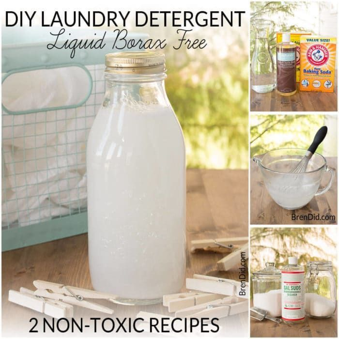 Two easy laundry detergent liquid recipes. Learn to make small batch non-toxic laundry detergent that rates an A on the EWG Healthy Cleaning scale.  Borax free.