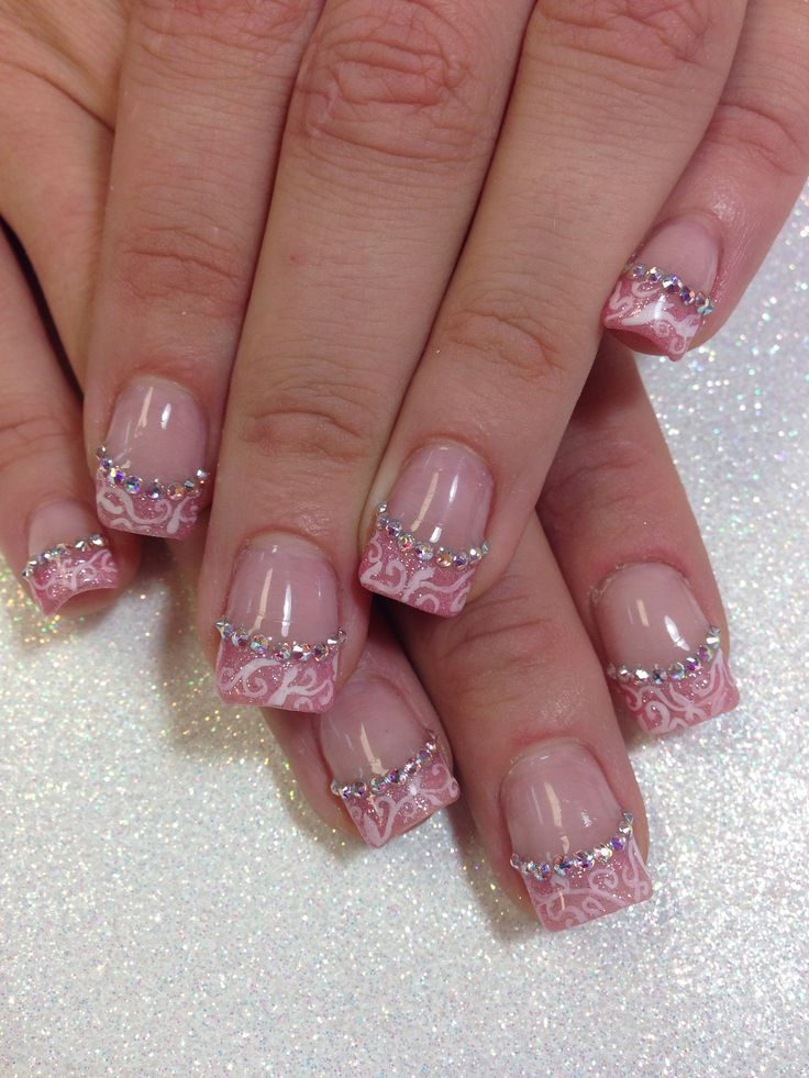 pale pink french manicure with photo