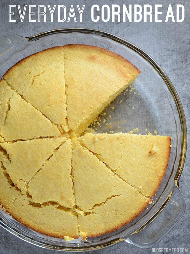 Simple recipes like this Everyday Cornbread are easy, filling, inexpensive, and can be modified a number of ways. Everyday Cornbread - BudgetBytes.com