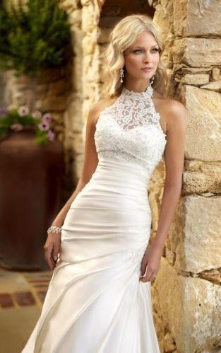Halter Sexy Lace Mermaid Wedding Dress Prom Gown Party Bridal Dress Custom Size | eBay