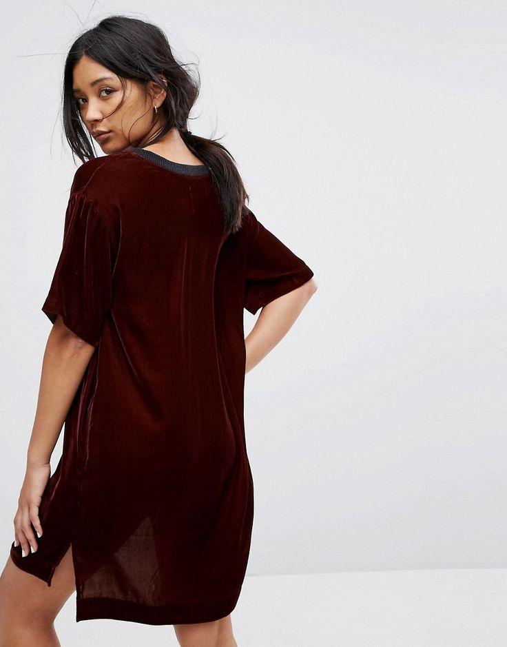 DKNY Velvet Half Sleeve Sleep Shirt - Red
