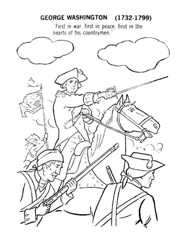 revoltionary war george washington and his men coloring page school history pinterest coloring pages washington and color