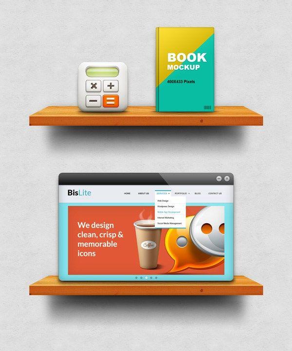 Free Wooden Shelf Display Mockup (PSD)
