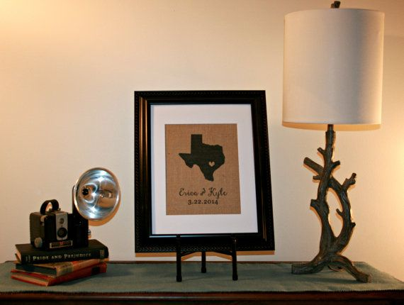 Personalized Monogrammed Framed Burlap Print Wedding