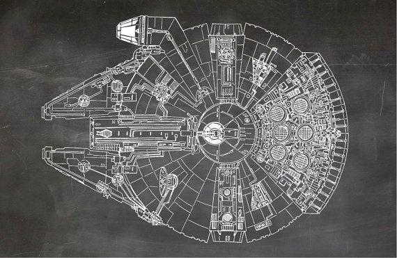 Star Wars Millennium Falcon Blueprint Art of The by BigBlueCanoe