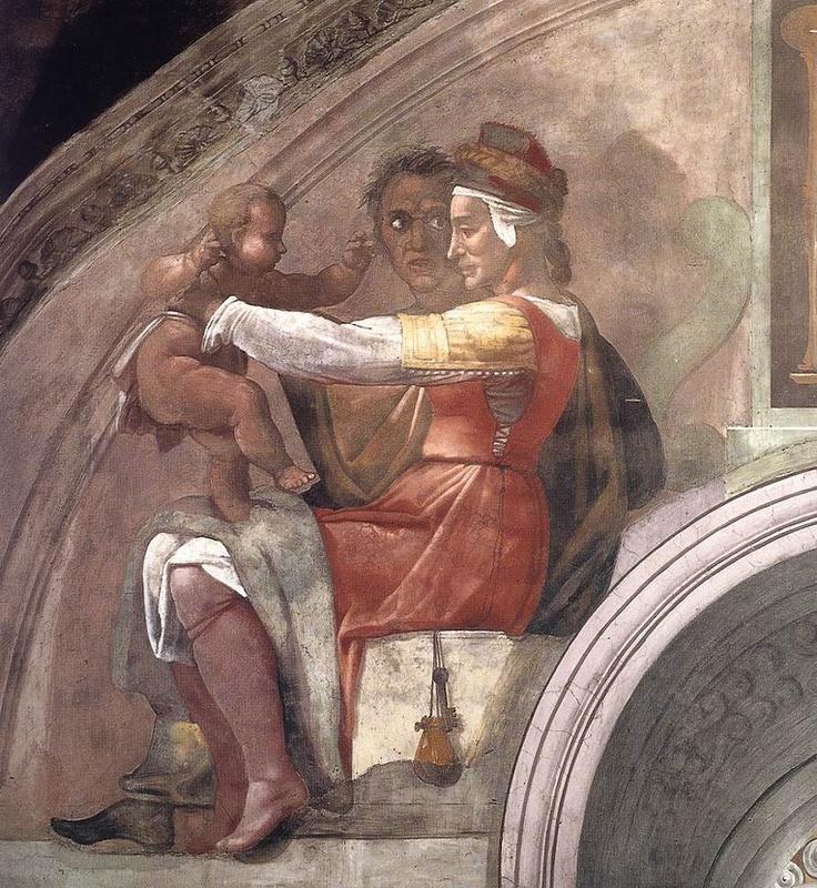 MICHELANGELO BUONARROTI - (1475 - 1564) - Sistine Chapel - Ancestors of Christ - Eleazar-Matthan (detail).
