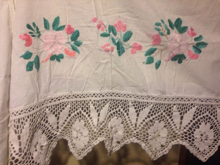 embroidery, vintage valance, in bed, with lace