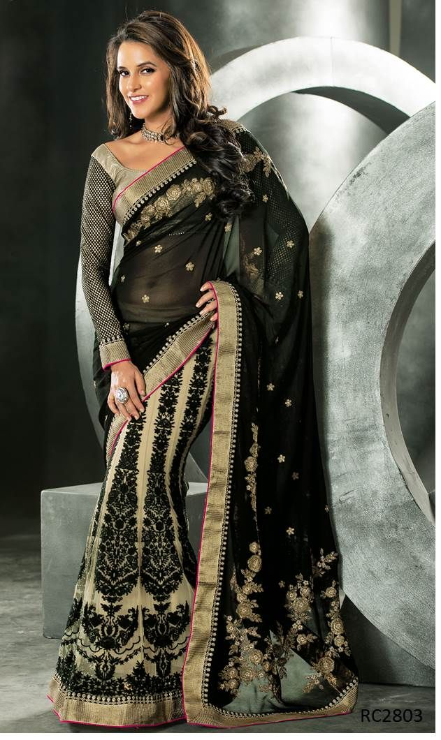 #LehengaSaree is the perfect combination between the comfort of a Lehenga and the ethnic glamour of a saree. Look beautiful on that special occasion with Lehenga Saree collection on Ethnic Station. http://www.ethnicstation.com/lehenga-1/lehenga-sarees/black-zari-work-lehenga-saree-RC2803