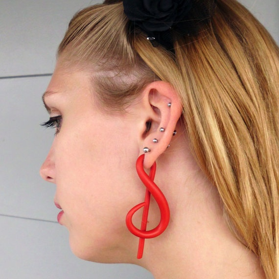 gauged earrings treble clef