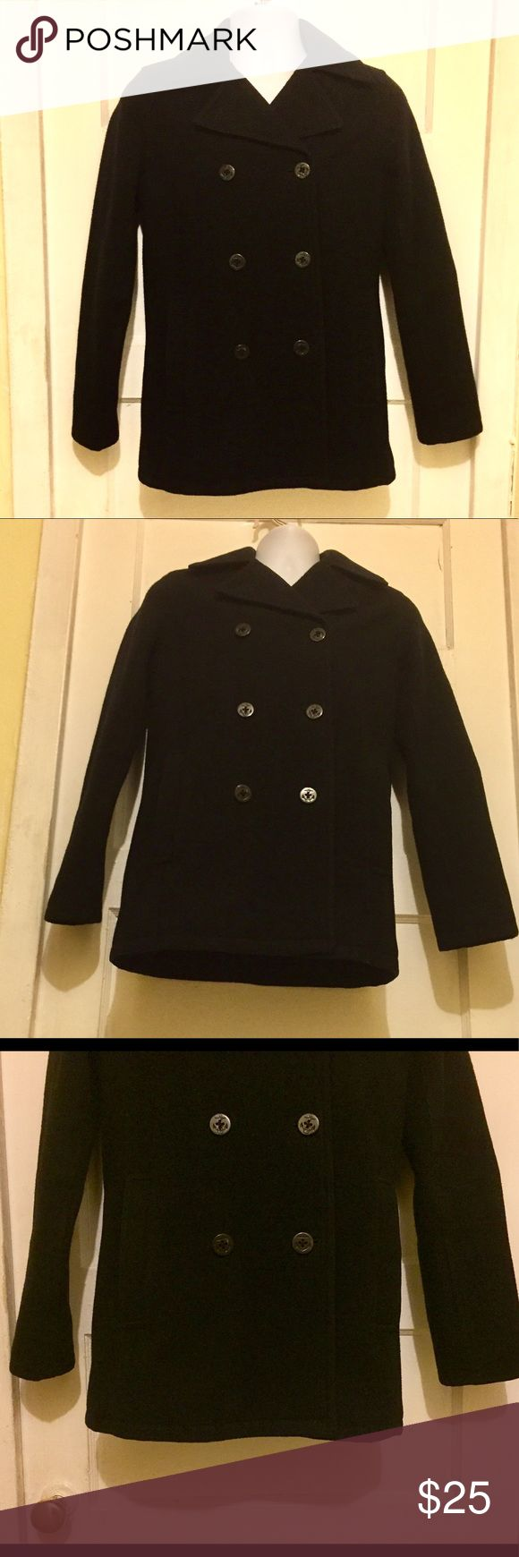 "AEO PEA COAT This AEO Pea Coat is in a Size: XS It is meant for men but can also be worn by women totally fine.  It has been used but is in good condition. Sleeve Length: 24.5"" Length from shoulders to bottom: 28.5"" Shoulder to Shoulder: 15.5"" Pit to Pit: 28"" American Eagle Outfitters Jackets & Coats Pea Coats"