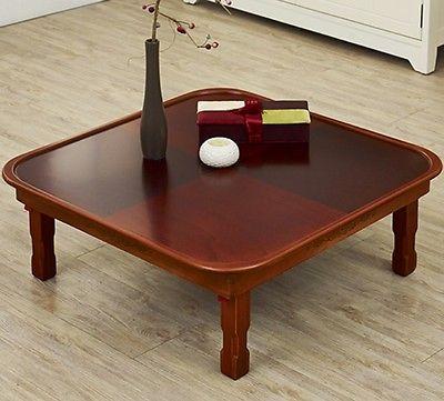 Floor Table Round Traditional Japanese Style Coffee Tea Tatami Low Folding