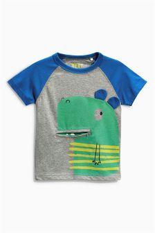 Camiseta de manga corta con detalle de dinosaurio con cremallera en la boca (3 meses-6 años)